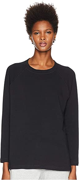 Tencel Organic Cotton Fleece Jewel Neck Top with Side Slits