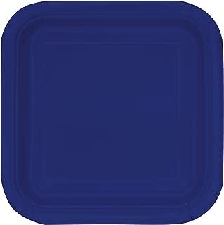 Unique Industries, Square Cake Paper Plates, 16 Pieces - Navy Blue , 7