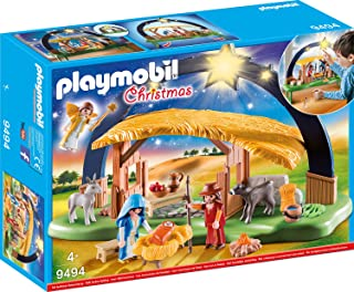 PLAYMOBIL Christmas 9494 Illuminating Nativity Manger with Fold-out Feet, For children ages 4 +