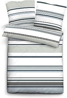 1x 80x80 cm Silber//grau biberna 0636139 Bettw/äsche Garnitur mit Kopfkissenbezug Mako-Satin 1x 135x200 cm