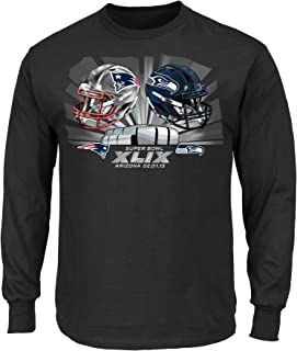 Majestic Seattle Seahawks vs New England Patriots NFL Super Bowl XLIX Helmet L/S T-Shirt