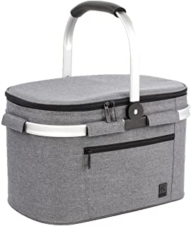 ALLCAMP Large Size Insulated Cooler Bag Folding Collapsible 22L Picnic Basket with Sewn in Frame (Grey)