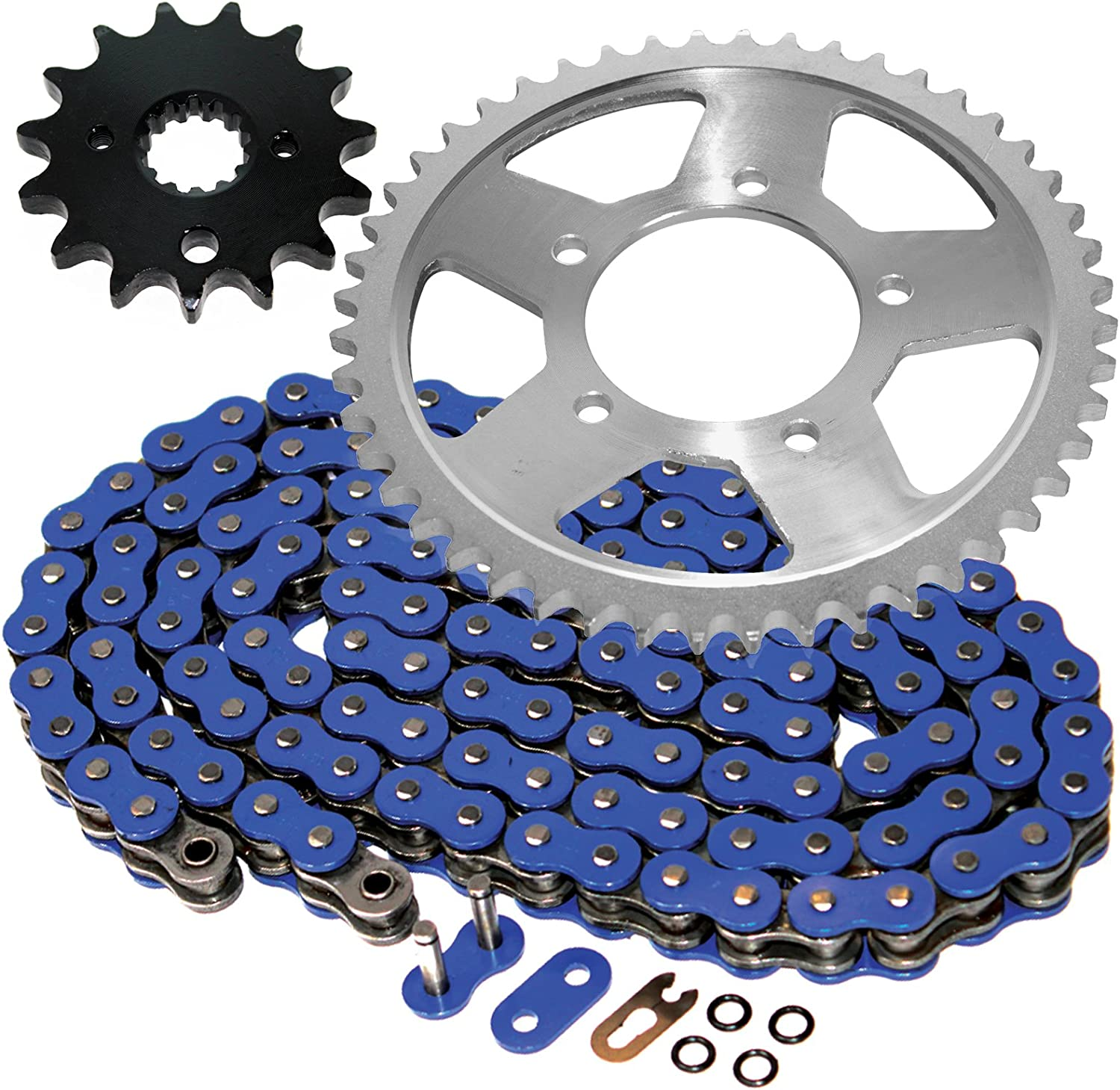 Caltric Blue O-Ring Drive Chain Sprockets with Translated Kit Compatible New item
