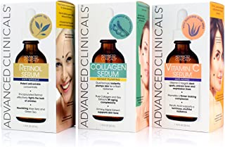 Advanced Clinicals Complete Skin Care Set with Anti-Aging Retinol Serum, Plumping Collagen Serum, and Vitamin C Serum for ...