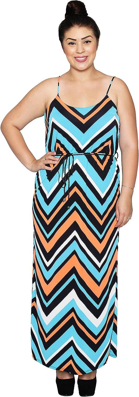 Libian Jr Plus Size Sleeveless Electric Chevron Printed Belted Maxi Dress