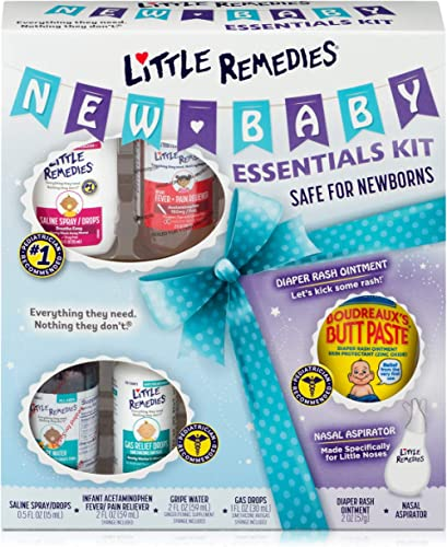 Little Remedies New Baby Essentials Kit, 6 Piece Kit for Baby's Nose and Tummy