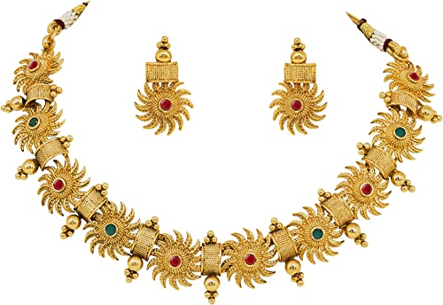 Jewelsiya Gold Plated Green & Pink Kundan Stone Studded Round Surya Chakra Necklace Choker Set for Womens and Girls