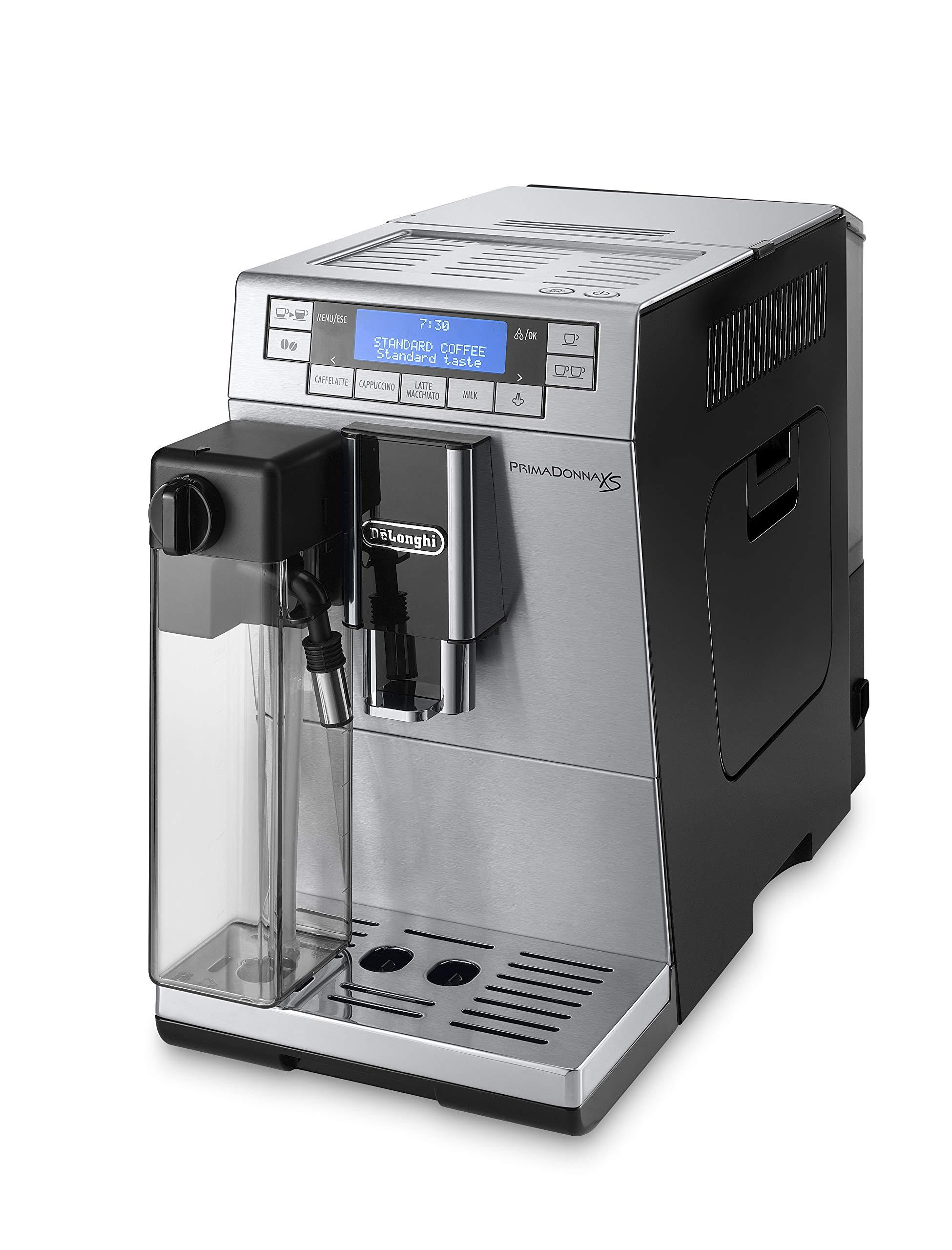 DeLonghi PrimaDonna XS Deluxe - Cafetera Superautomática con 15 Bares de Presión, Espresso y Cappuccino, Muy Estrecha 19.5 cm, Pantalla Digital, Personalización Cafés, 1450 W, ETAM 36.365.MB, Plata: Amazon.es: Hogar