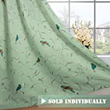 H.VERSAILTEX Rustic Turquoise Birds in Quiet Green Base Thermal Insulated Blackout Curtains for Bedroom, Antique Grommet Top, Set of 1 Panel, W40 x L63 inch