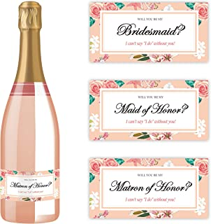 Will You Be My Bridesmaid Stickers   Mini Champagne Bottle Labels   Proposal Ideas ask Sister, Best Friend (Pink Floral)