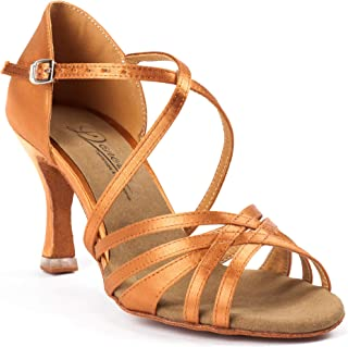 Dancine Ballroom Latin Social Salsa Tango Dance Shoes,Double-Layer Heel Tip,Premium Satin,Three Styles
