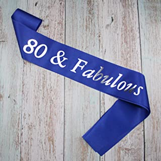 80th Birthday Present for Women Men, 80 and Fabulous Sash, Blue and Silver Satin Sash, 80th Party Accessories Supplies Favors Decorations Present for Him Her - 1 Pack