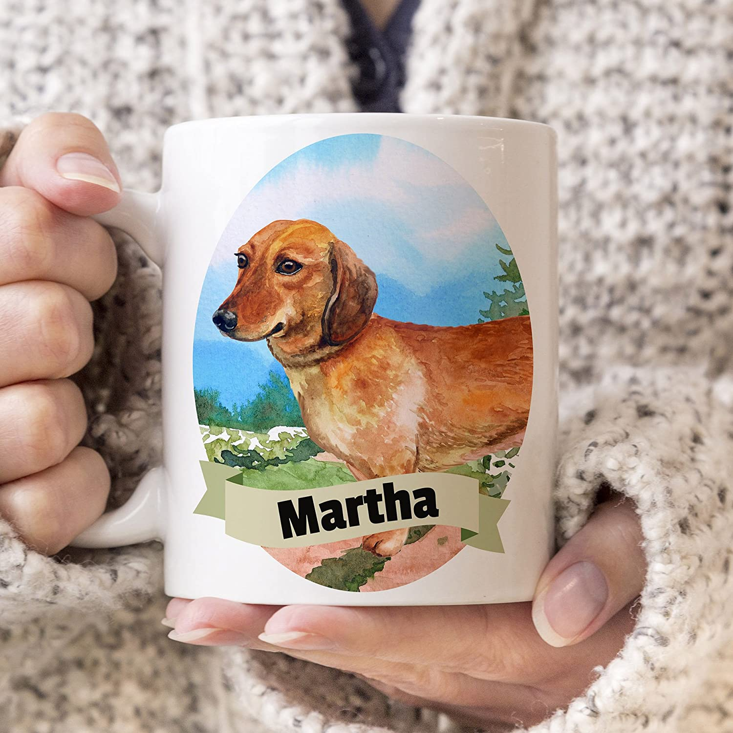 Dachshund Custom Dog Mug Your Selling and selling mart Dog's Name D a and on Mirowave Cup