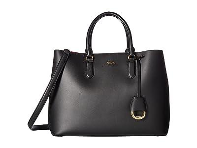 LAUREN Ralph Lauren Dryden Marcy Satchel Large (Black/Red) Satchel Handbags