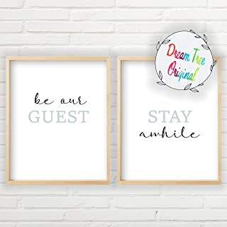 Be Our Guest, Stay Awhile Wall Decor (Unframed 11x14 inch Prints, Stay A While Sign Set, Guestroom Decor Set of 2, Be Our Guest Sign, Be Our Guest Sign Wall Decor For Guest Room)