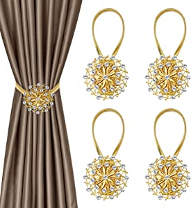 Magnetic Curtain Tiebacks 4 Pack, Gold Crystal Flower Window Curtain Decorative No Drilling Drapery Holdbacks with High-Elastic Spring Wire for Home Office Decor