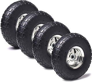 """AR-PRO 4.10 / 3.50-4 """"لاستیک تعویض سنگین / چرخ / لوله داخلی 10"""" با سوراخ 5/8 """"و یاطاقان مهر و موم شده (مجموعه 4) - برای چرخ های چرخ ، موررها ، کامیون های دستی ، کمپرسورهای هوا و موارد دیگر"""