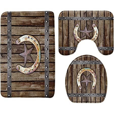 Rustic Farmhouse Memory Foam Bath Rug 3 Piece Rusty Horseshoe Texas Star on Old Barn Wooden Garage Door Vintage Western Country Cabin Bathroom Rug Set,Bath Mat +U-Shaped Contour Rug +Toilet Lid Cover