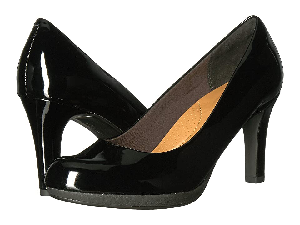 1940s Style Shoes, 40s Shoes Clarks Adriel Viola Black Patent High Heels $90.00 AT vintagedancer.com