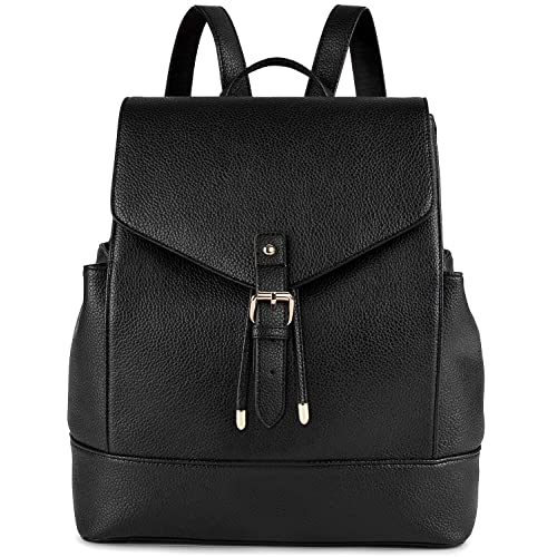 Leather Backpack, COOFIT Black Leather Backpack for Women Backpack Purse Casual Daypack for Women