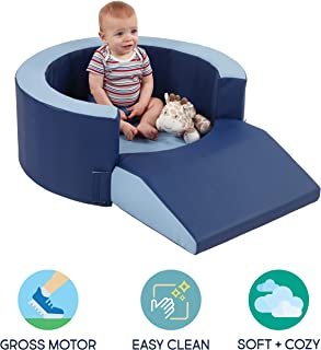FDP SoftScape Lil Personal Space, Cozy and Safe FoamRetreat for Babies and Toddlers to Read, Snack, or Relax - Navy/Powder Blue