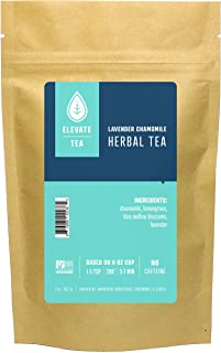 Elevate Tea LAVENDER CHAMOMILE HERBAL TEA, Loose Leaf Tea Blend, 25 servings, 2 Ounce Pouch, Caffeine Level: None