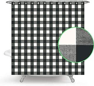 Wencal Buffalo Tartan Check Plaid Shower Curtain for Bathroom with Hooks 72 x 72 Inches