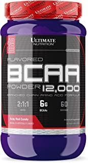 Ultimate Nutrition Flavored BCAA Powder - Caffeine Free with 3g Leucine 1.5g Valine 1.5g Isoleucine - Post Workout Amino Acid Supplement, Ruby Red Candy, 60 Servings