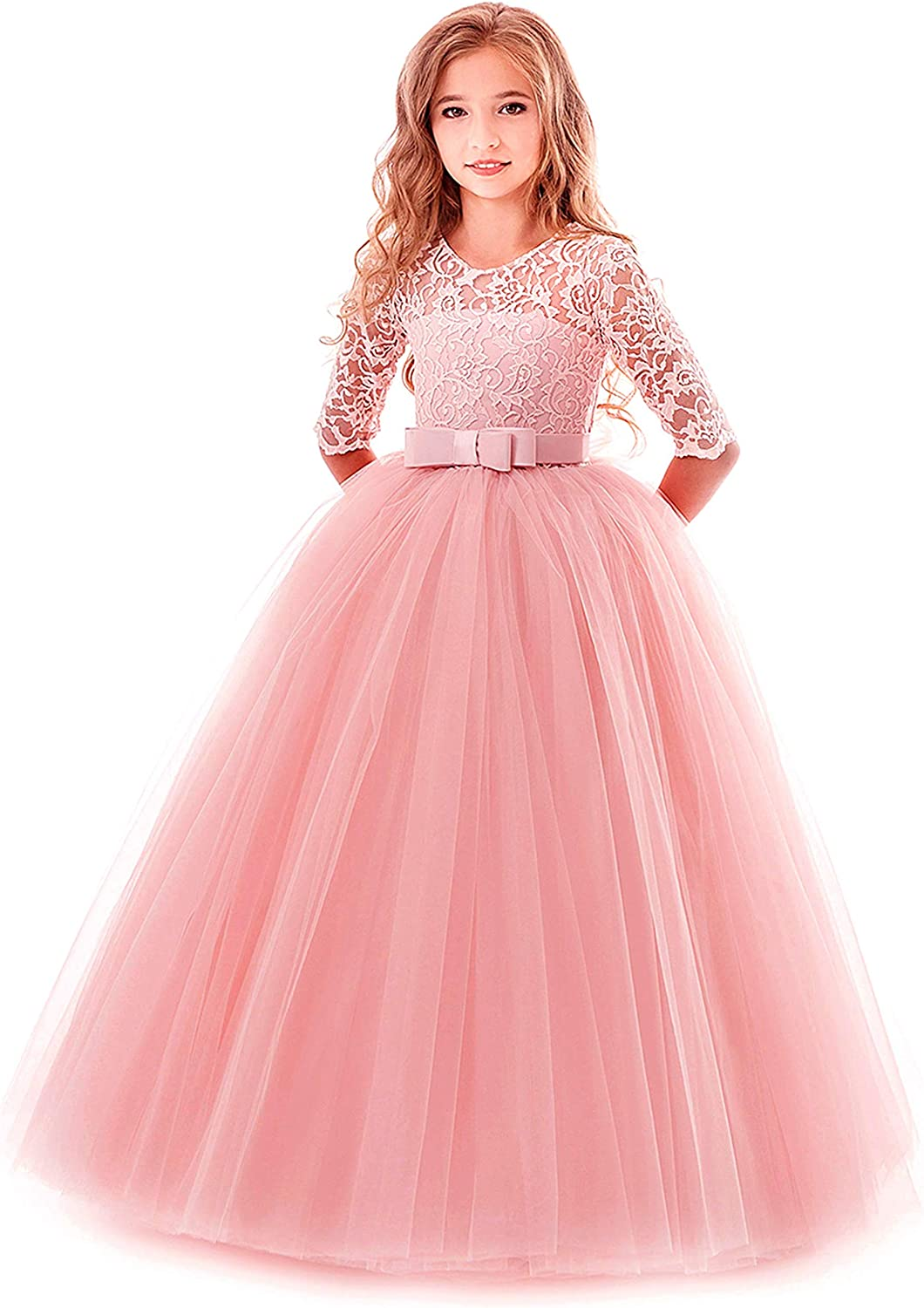 Flower Girl Lace Bridesmaid Memphis Selling Mall Dress 3 4 Gowns Sleeves Ball Pageant