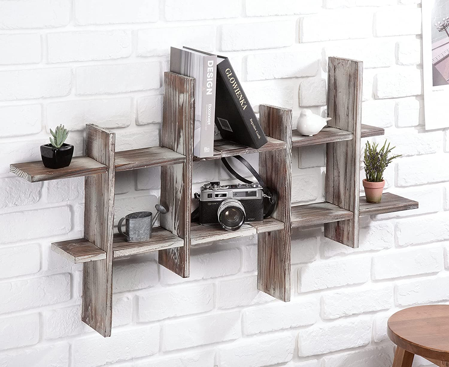 J JACKCUBE DESIGN Rustic Wall Mount Shipping low-pricing included Shelves of D Cube Grid 2 Set