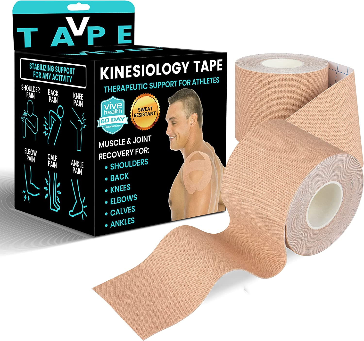 Vive High quality Kinesiology Tape 16.4 Limited price sale Feet Athletic Therapeutic Support -