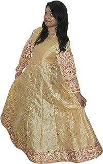 lakkar haveli Indian Women Cotton Silk Mix Summer Long Dress Casual Floral Print Golden Color Plus Size (2XL)