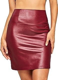 WDIRARA Women's Elegant High Waist PU Mini Skirt