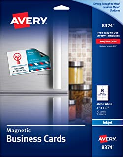 Avery 8374 Magnetic Business Cards, 2 x 3 1/2, White, 10 Cards per Sheet (Pack of 30 Cards)