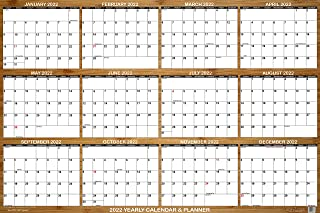 """SwiftGlimpse 2021 Wall Calendar, 24"""" x 36"""" Designer Series, Large, Erasable, Yearly Wall Planner (Bamboo)"""