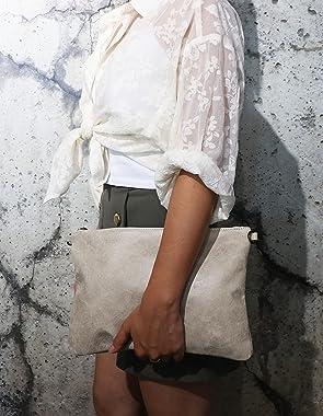 SH Leder Echtleder Umhängetasche Clutch im vintage look mittelgross Tasche Abendtasche 33x22cm Clara G396