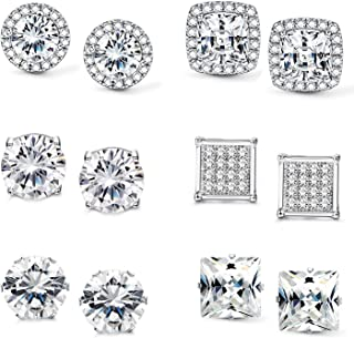2561dd02e Jstyle Halo Cubic Zirconia Stud Earrings for Women Girls Clear CZ Round  Square Stud Earrings Set