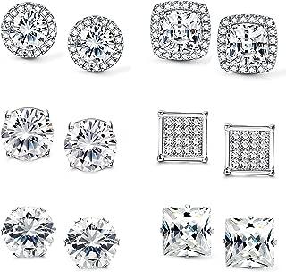 Halo Cubic Zirconia Stud Earrings for Women Clear CZ Round Square Stud Earrings Set Ear Jewelry