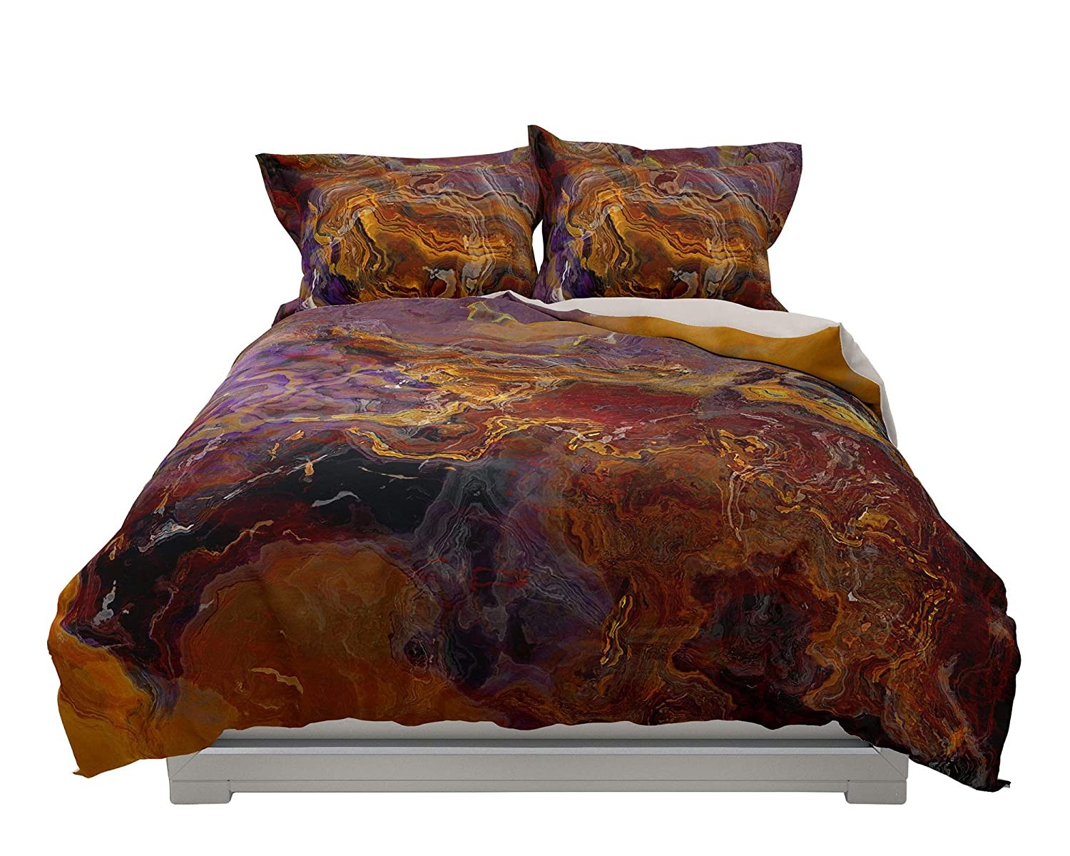 King or Queen Genuine 3 pc Duvet Cover K Riveted art abstract Set Sale price with