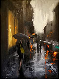 Trademark Fine Art Village Cafe in Rain by Chin H. Shin, 24x32, Multiple Colors
