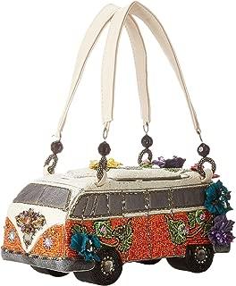 Mary Frances Get On The Bus VW Van Auto Car Novelty Hand Beaded Jeweled Crystal Handbag Purse