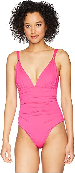 Beach Club Solids Slimming Fit Corset One-Piece