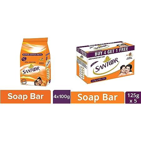 Santoor Sandal and Turmeric Soap Super Saver Pack, 100g (Pack of 4) And Santoor Sandal and Almond Milk Soap (Buy 4 Get 1 Free 125g each)