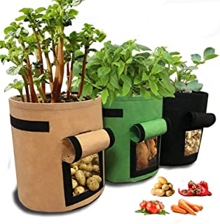 Develoo 3PCS Potato Growing Bag, 10 Gallon Planter Bags Planting Pouch with Handles and Easy to Open Access Flap Cloth Pot...