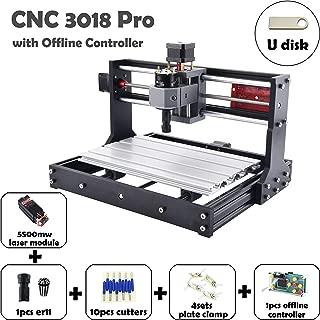 CNC 3018 Pro と 5.5-レーザーモジュール CNC 彫刻機 CNC 彫刻 CNCウッドルーター 製粉機 CNC+laser レーザー彫刻機 レーザー加工機 (CNC 3018 PRO, 含む 5.5W レーザーモジュール)