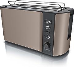 Arendo - Roestvrij stalen broodrooster met lange sleuf 4 sneden - ontdooifunctie - warmte-isolerende behuizing - met geïnt...