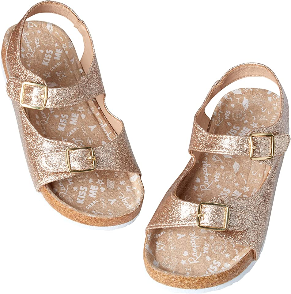Rampage Toddler Girls Sandals - Glitter Open Toe Sandals with Double Buckle Straps