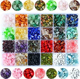 Colle 15/24 Colors Crystal Beads for Jewelry Making Supplies, Healing Gemstones Waist Bracelets Necklace Kit Irregular Chi...