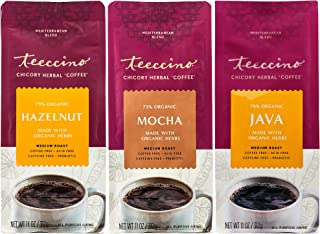 Teeccino Herbal Coffee Variety Pack - Hazelnut, Mocha and Java - Ground Herbal Coffee That's Prebiotic, Caffeine-Free & Ac...