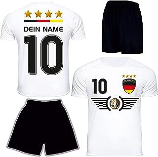 DE FANSHOP Deutschland Trikot mit Hose & GRATIS Wunschname  Nummer EM WM Weiss #D6 2021 2022 - Geschenk für Kinder Erw. Jungen Baby Fußball T-Shirt personalisiert